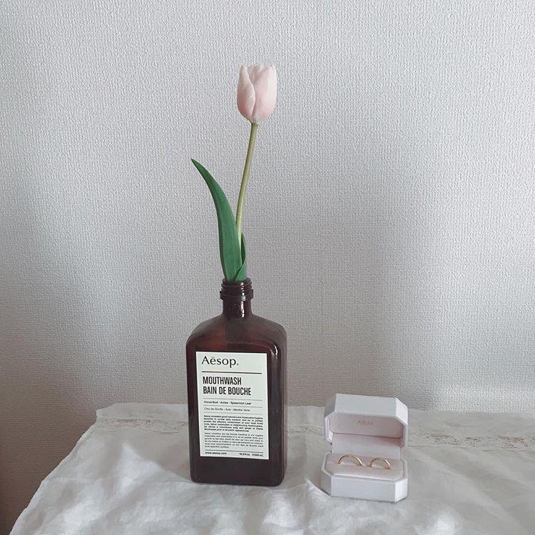 |お花と一緒にぱしゃり♡
