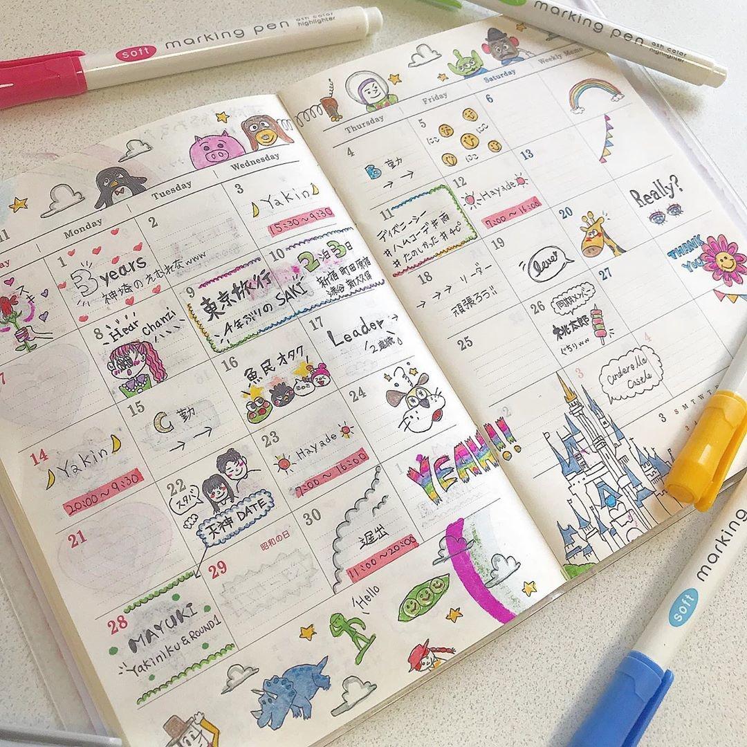 スケジュール帳をデコって、可愛くしよ♡予定を確認するたびに、楽しい気持ちに