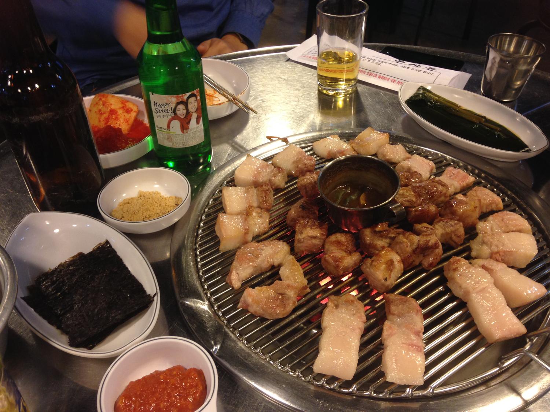 □サンチュと食べたい'サムギョプサル'