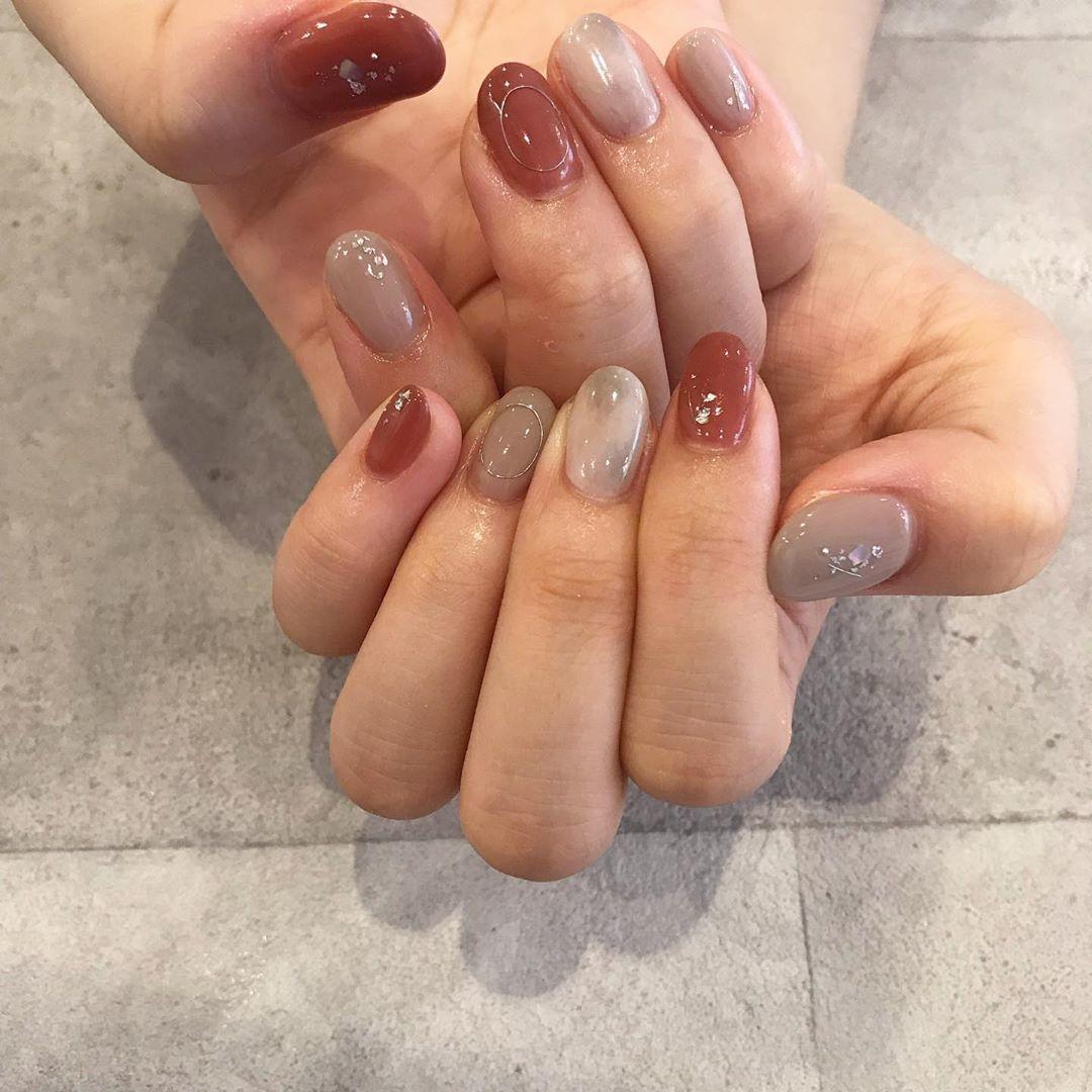 |terracotta×beige * nail