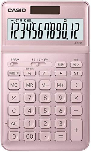 CASIO 電卓 12桁 ライトピンク