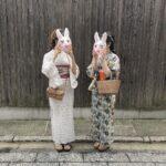 昭和乙女のアンティーク着物に兎のお面。'イロドリキョウト'の魅力、壱・弐・参