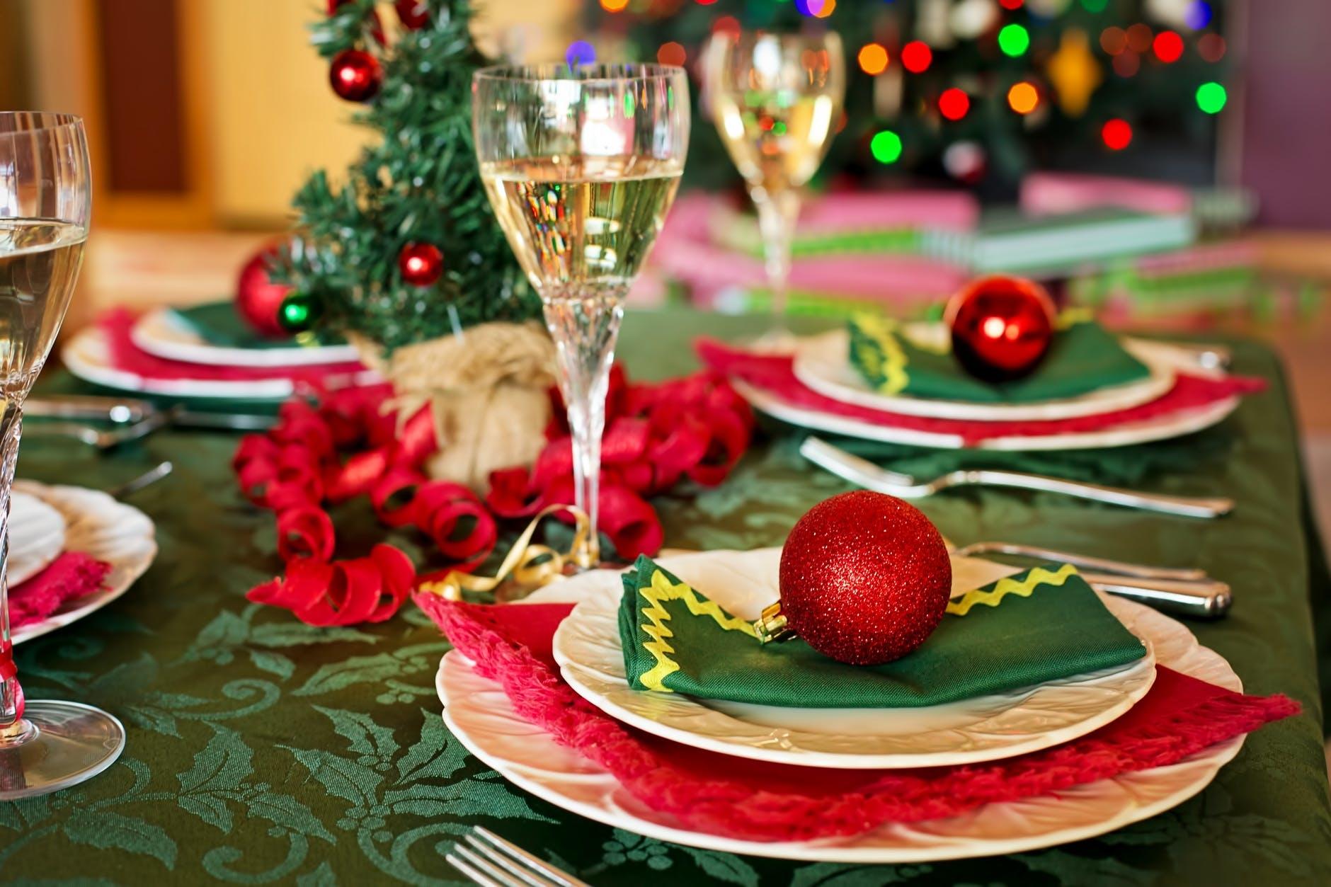 テーブルの上をクリスマスアレンジ