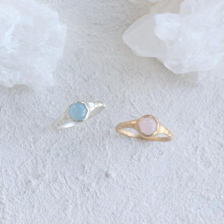 Frill Middle gem ring (Silver&Aquamarine)/(Gold&Rose Quartz)