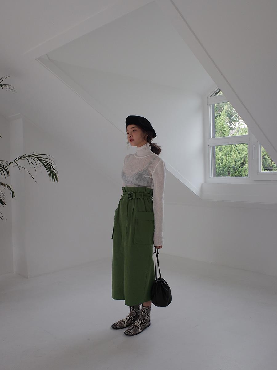 サイドポケットベルテッドスカート