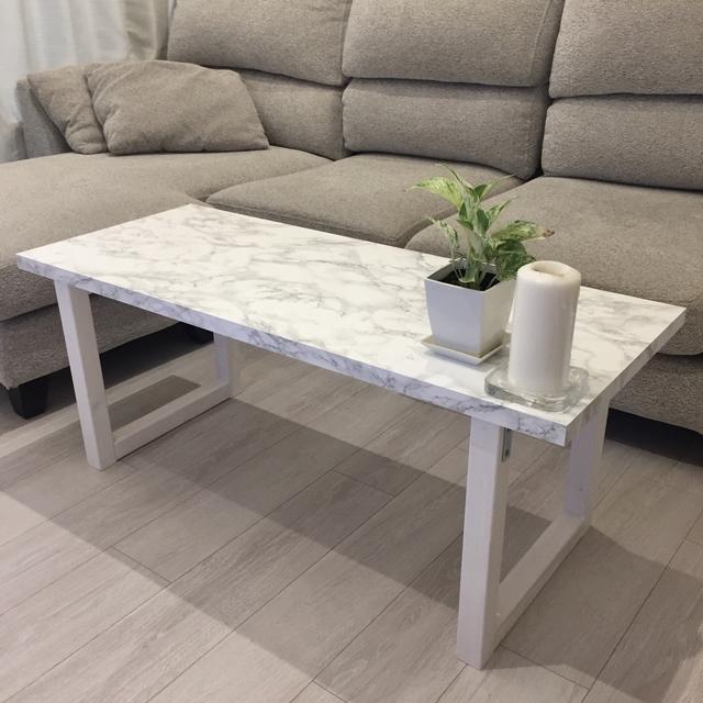 大理石調 シンプル テーブル☆おしゃれ サイズオーダー ローテーブル 組み立て不要