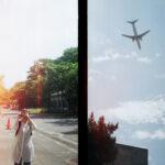 ハーフサイズカメラで撮影した道と空の写真