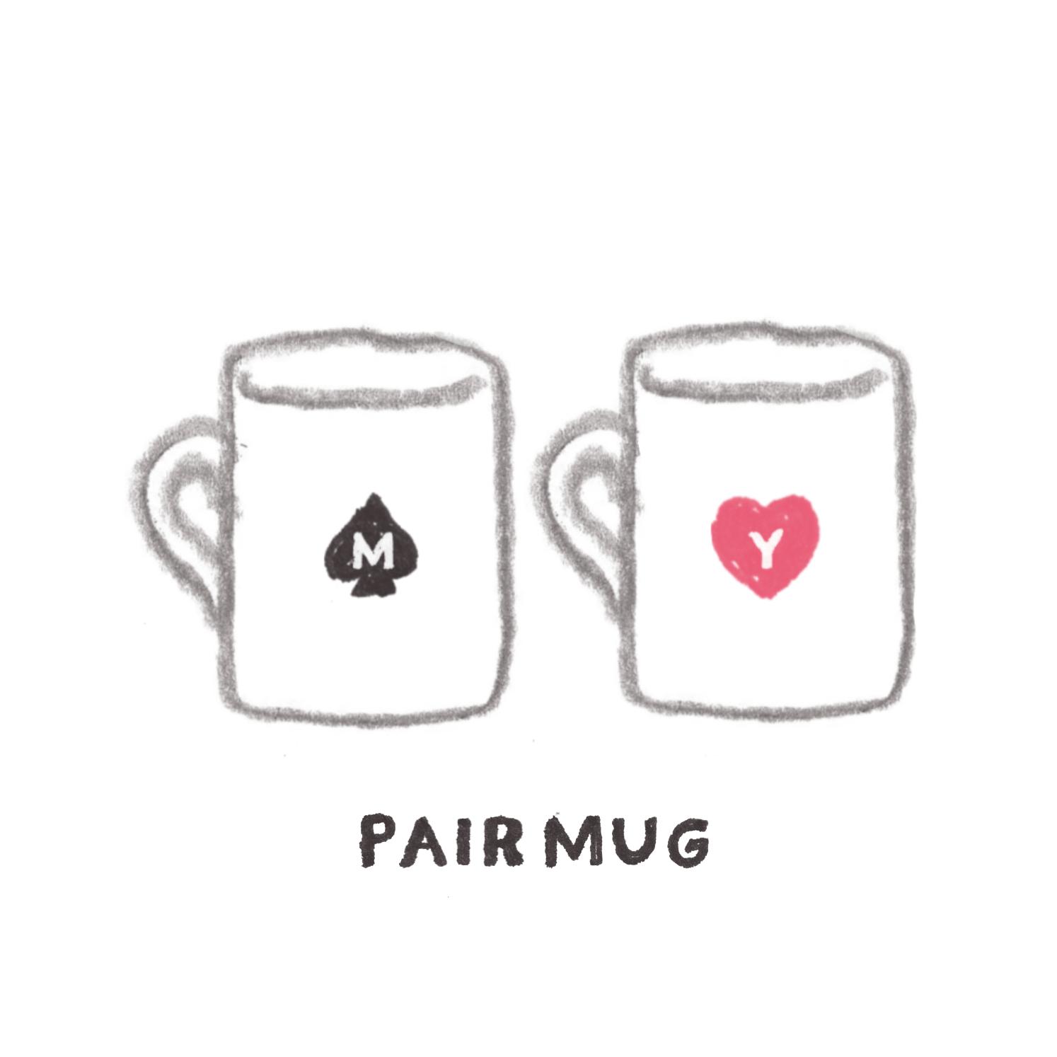 D:夫婦のネーム入りマグカップ