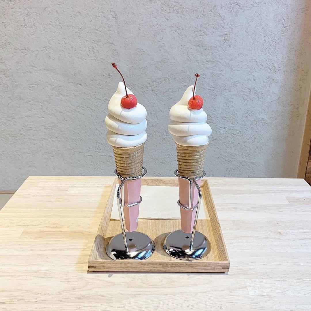 古民家で食べるきなこソフトクリーム