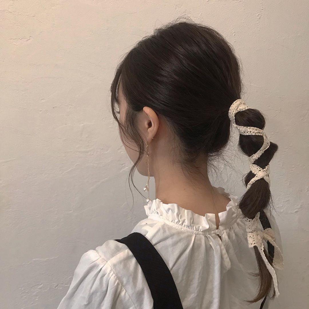 たまねぎヘア×リボンの編み編みが可愛い