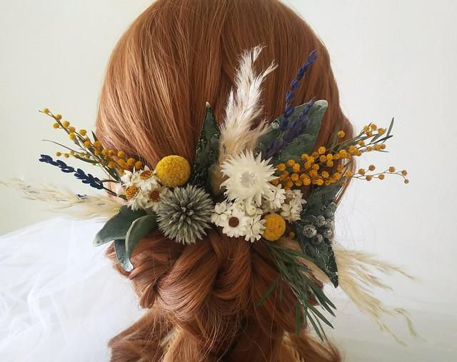 ミモザとパンパスグラスのナチュラル髪飾り
