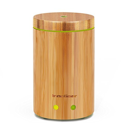 InnoGear 竹製アロマディフューザー 超音波式加湿器 空焚き防止機能搭載 多色変換LED付き タイマー機能