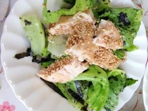 低糖質制限中でも大丈夫、鶏ささみと海苔のサラダ
