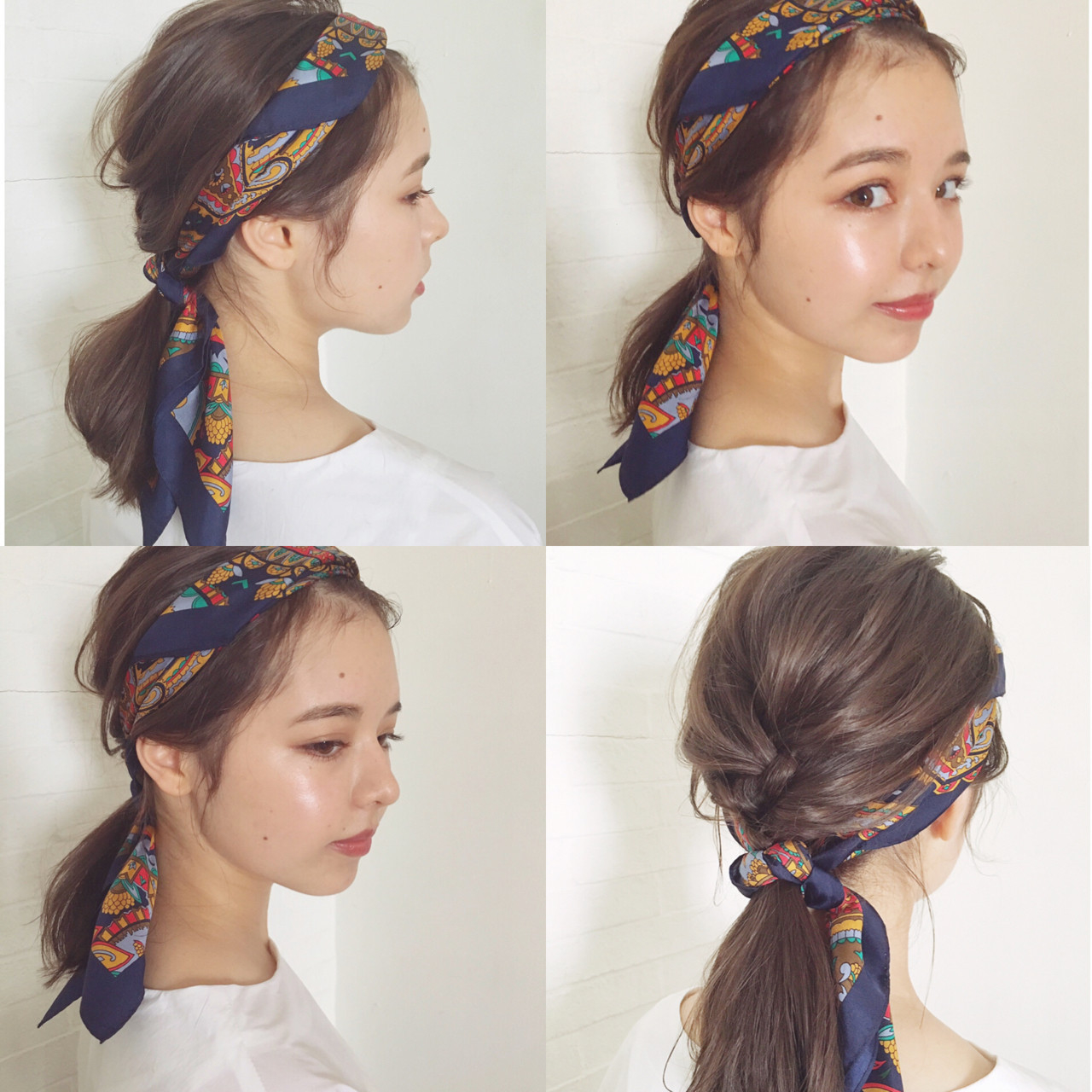 ミディアムヘア×スカーフ