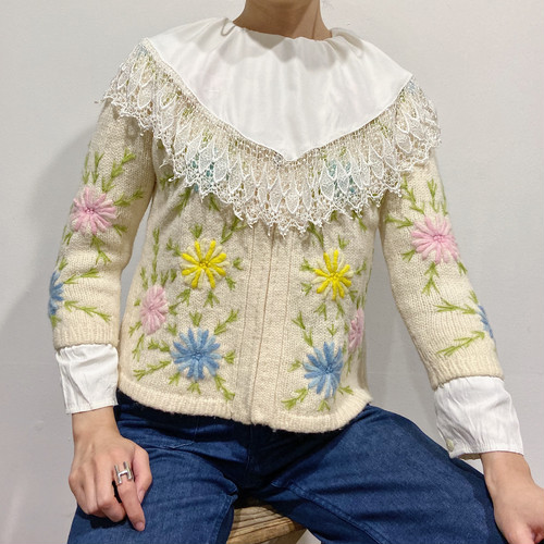 60s flower embroidery knit cardigan【333】