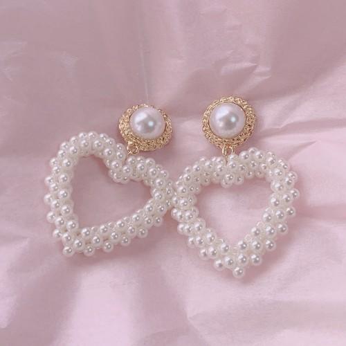 girly pearl heart pierce