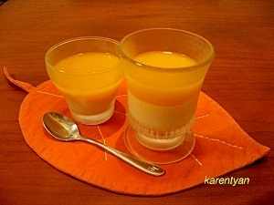 豆乳とマンゴーの二層ゼリー
