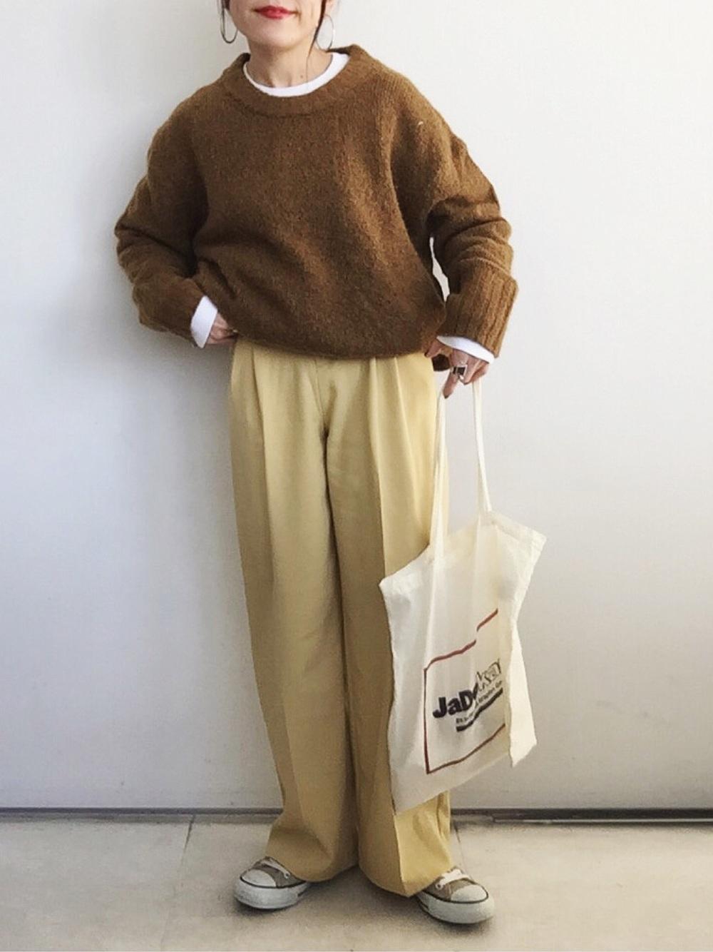 ニット×ロングTシャツ
