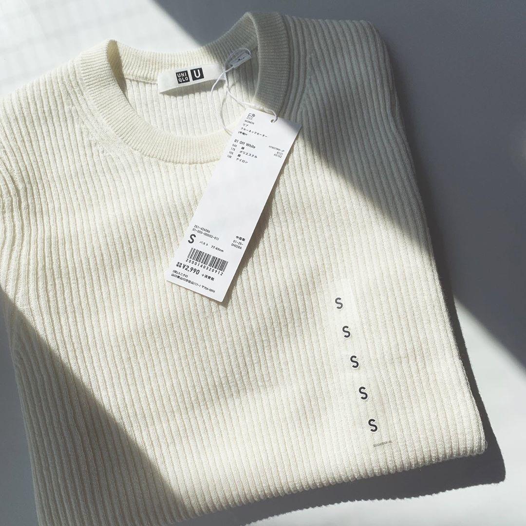 □リブクルーネックセーター