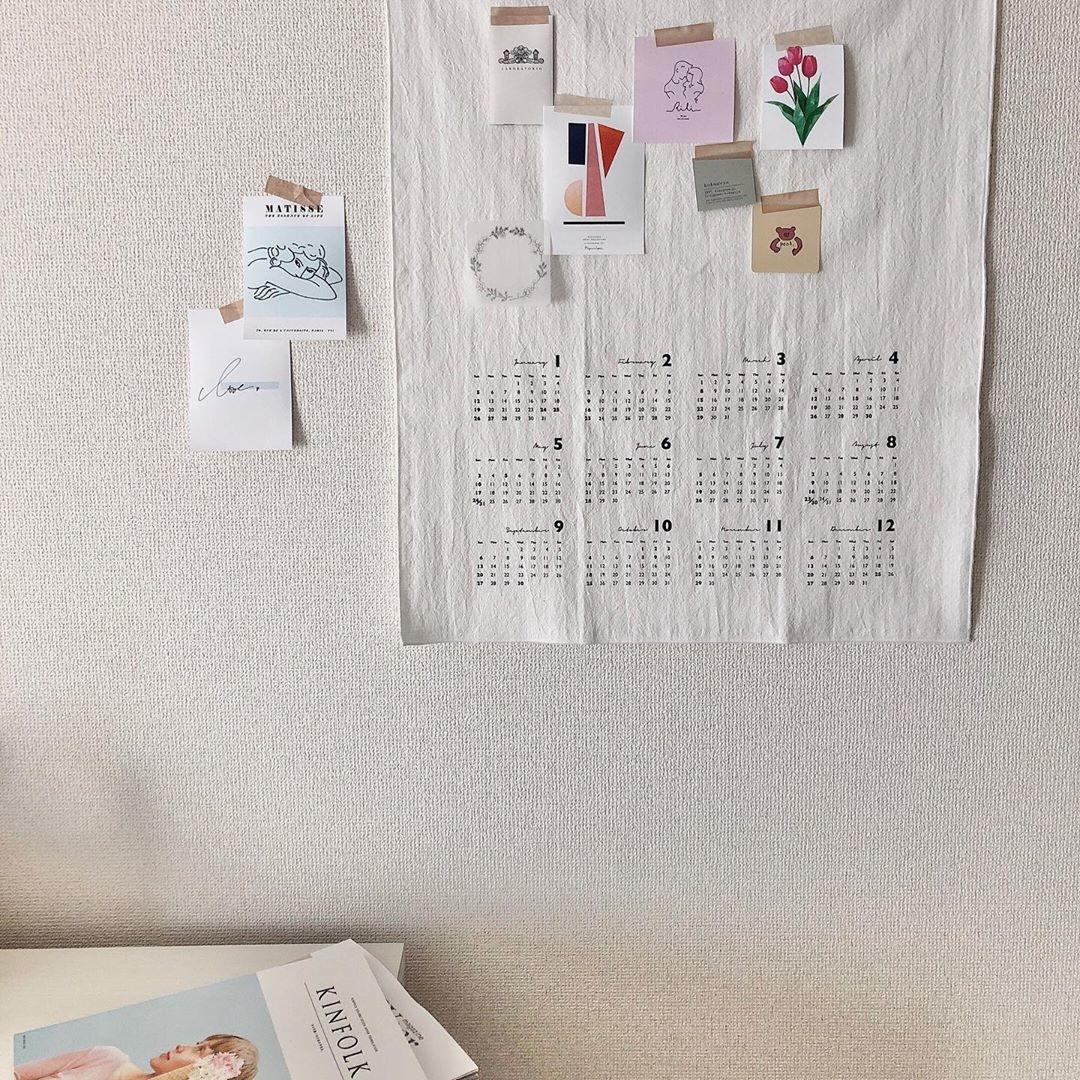 布のカレンダーで、雰囲気のあるmy roomへ