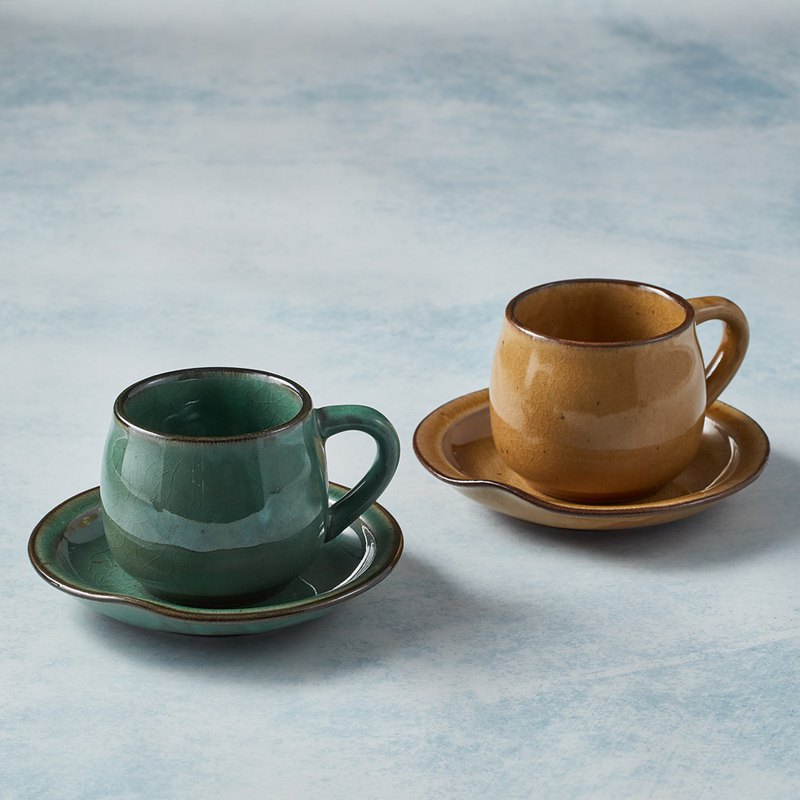 Japan Mino-baked-round mouth coffee cup and saucer