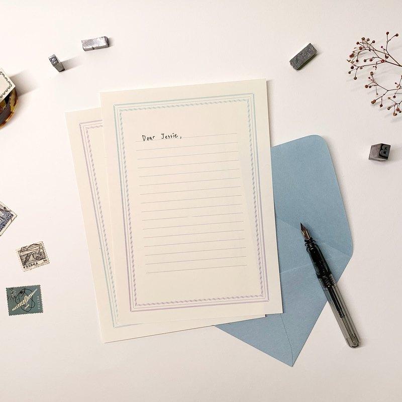 Typographic gradient envelope letterhead set purple blue
