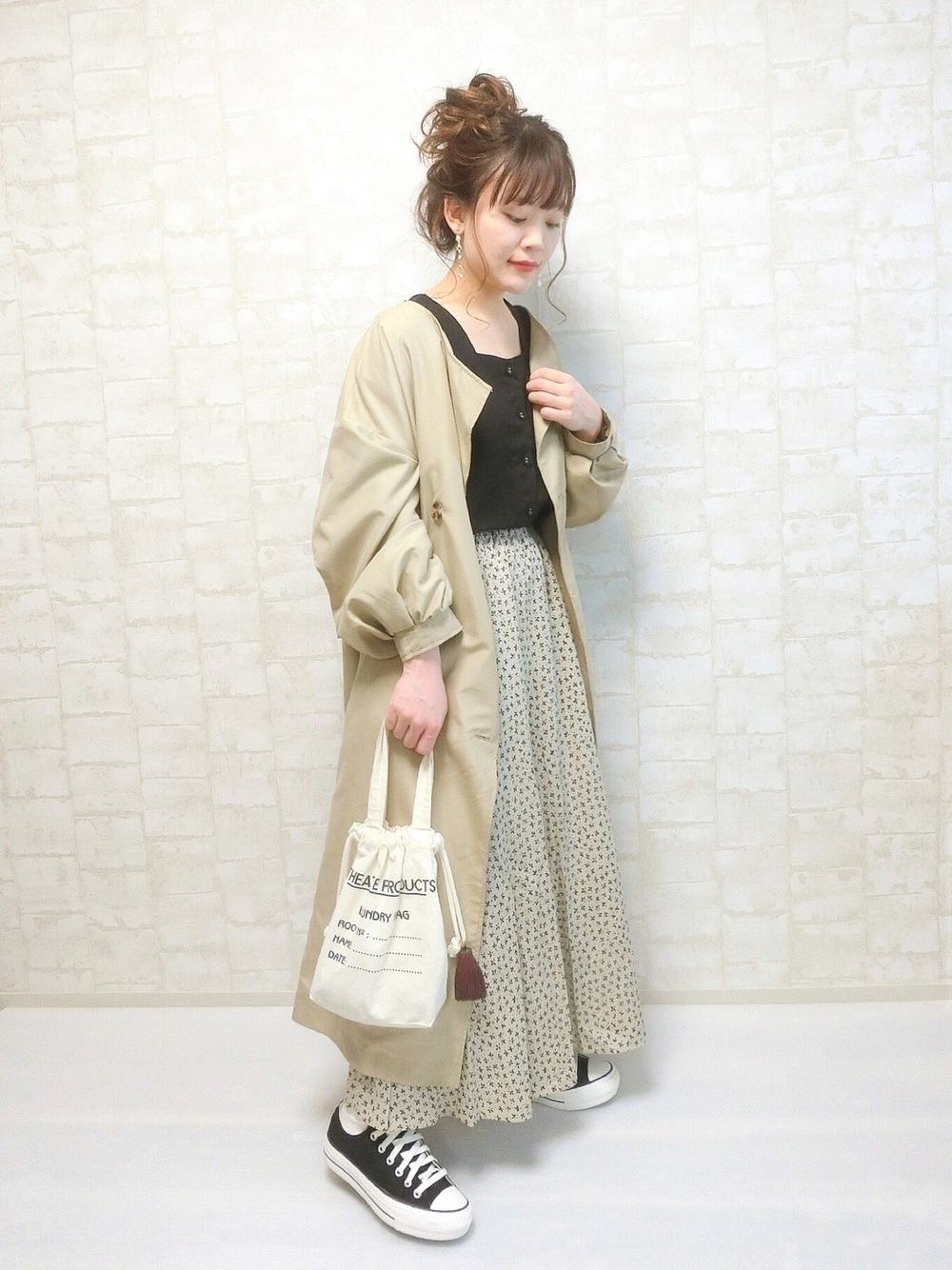 袖フリルノースリーブスクエアネックトップス ¥799