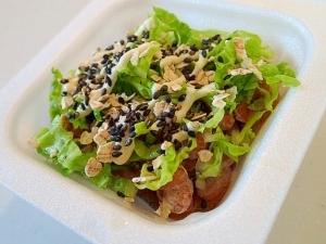 白菜とオートミールの黒胡麻マヨかけ納豆