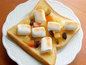 ヘルシーに甘々♪生姜蜂蜜とマシュマロのトースト