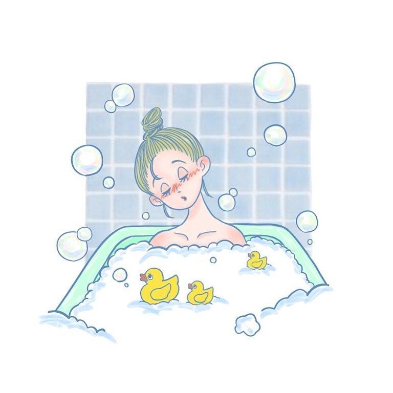 |ブレンドした(入浴剤を入れた)湯船に浸かる