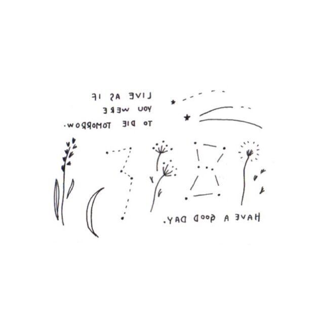 タトゥーシール 花.空