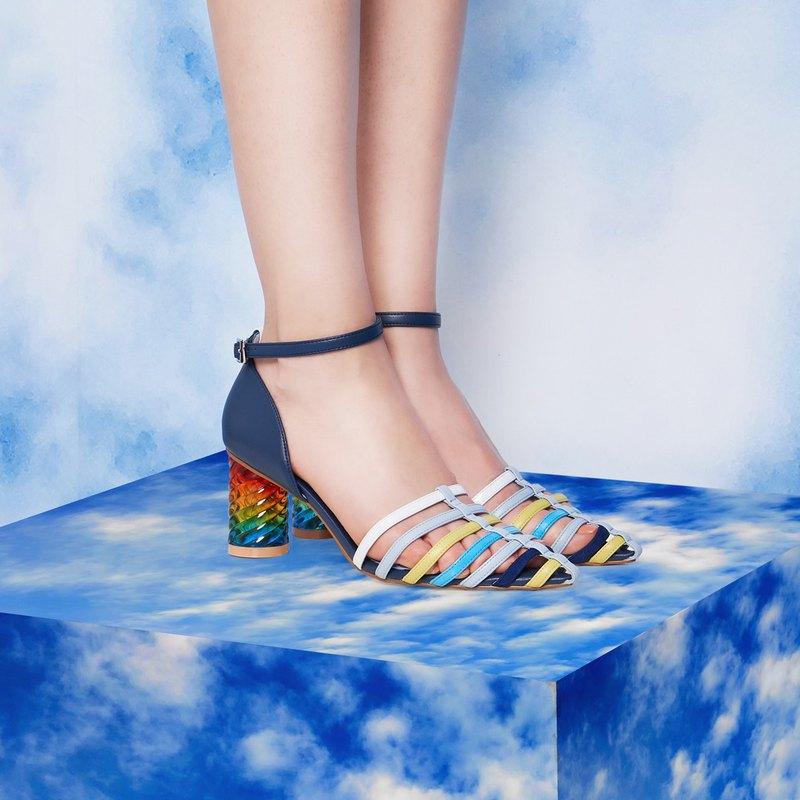 Small pointed birdcage rainbow block heels