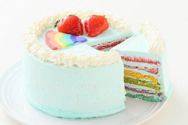 パステルブルーのレインボーケーキ