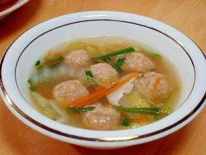 こんにゃく麺と肉団子で中華スープ