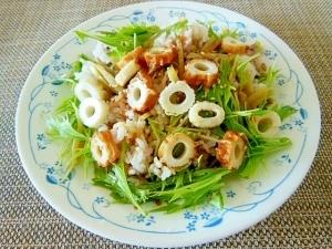 水菜とちくわときんぴらの雑穀サラダご飯♪