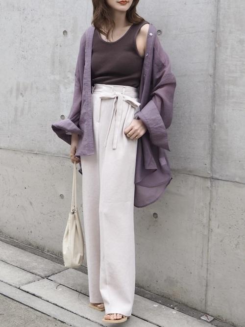ふんわりシャツ羽織りstyle