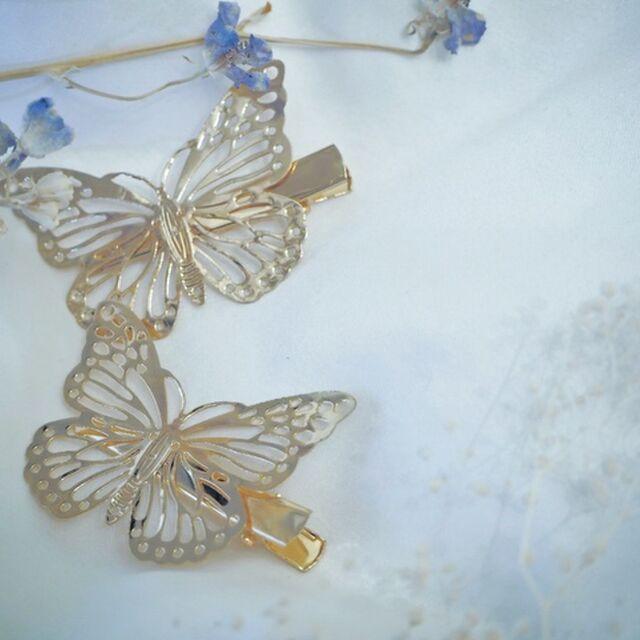 蝶ヘアクリップ