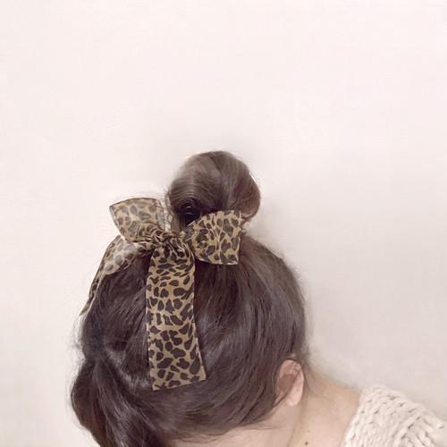 leopard ribbon hair clip
