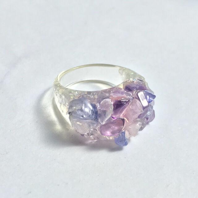 紫陽花天然石リング