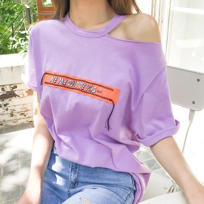 オープンショルダー半袖Tシャツ