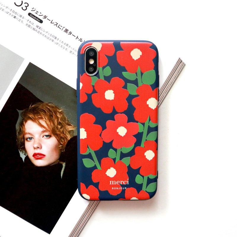 Dark blue red poppy flower phone case