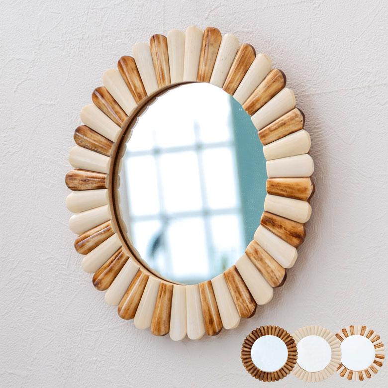 ミラー 鏡 ラウンド 直径29cm フラワーモチーフ