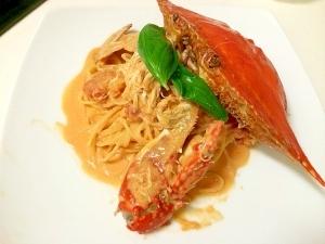 激ウマ♪カフェ風☆渡り蟹のトマトクリームパスタ☆