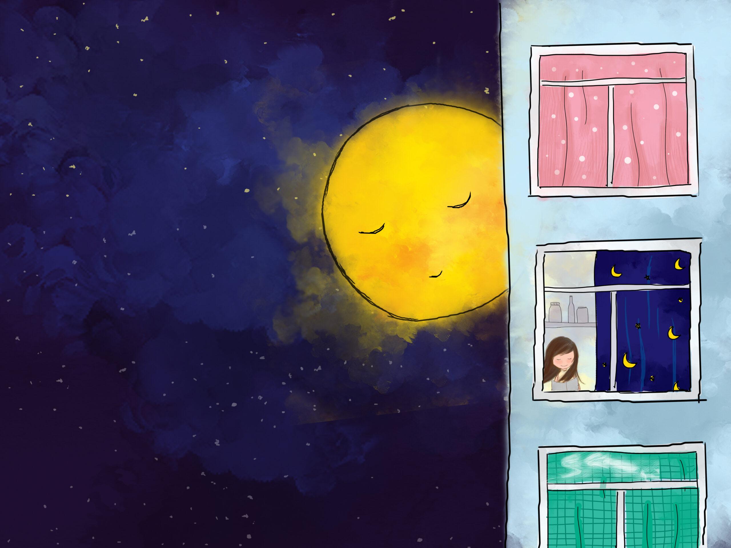 彩りを加える満月
