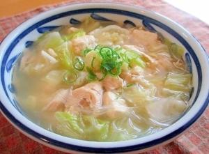 お豆腐と鶏ささみのあっさり春雨スープ♪