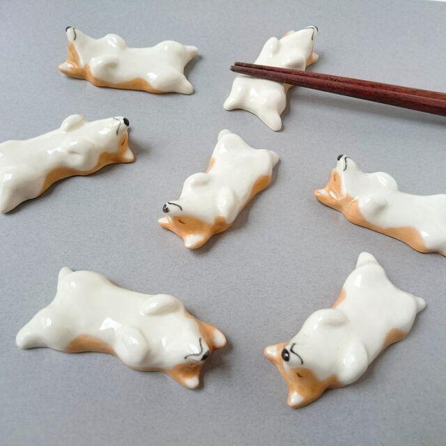 コーギー犬の箸置き(仰向け)