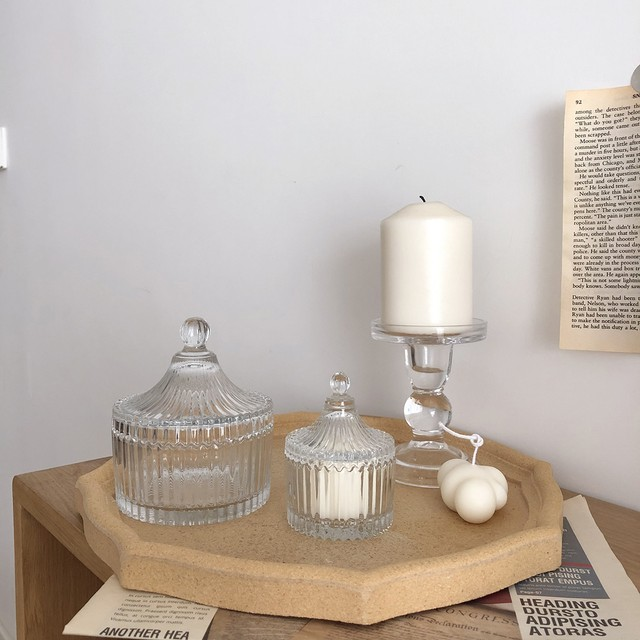 clear candle stand