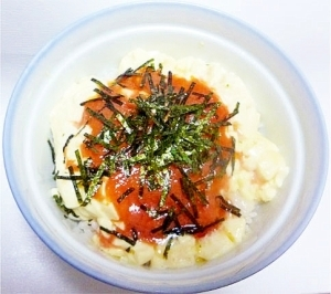 明太バター豆腐丼