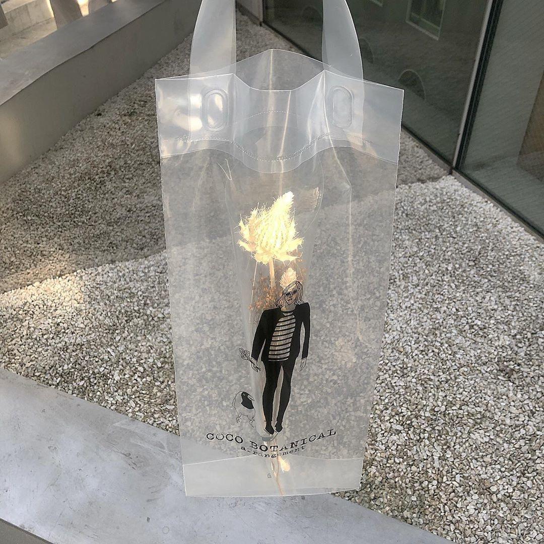 透明バッグにデザインされたイラストが可愛い