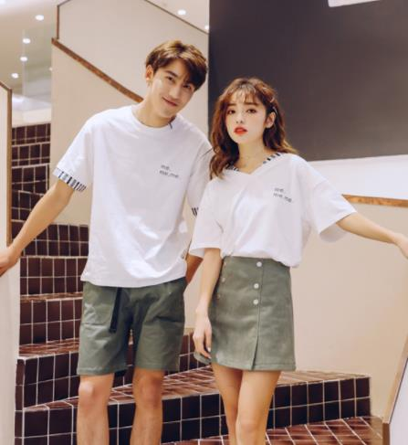カップルペアルック 韓国風 短袖Tシャツ